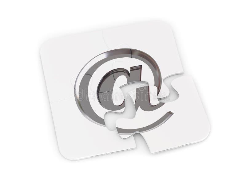 Chrome-E-Mail-alias Puzzlespiel lizenzfreie abbildung