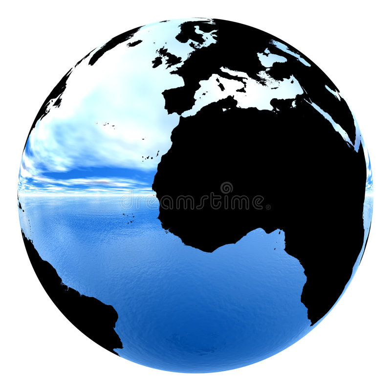 Chrome earth reflecting sky & water vector illustration