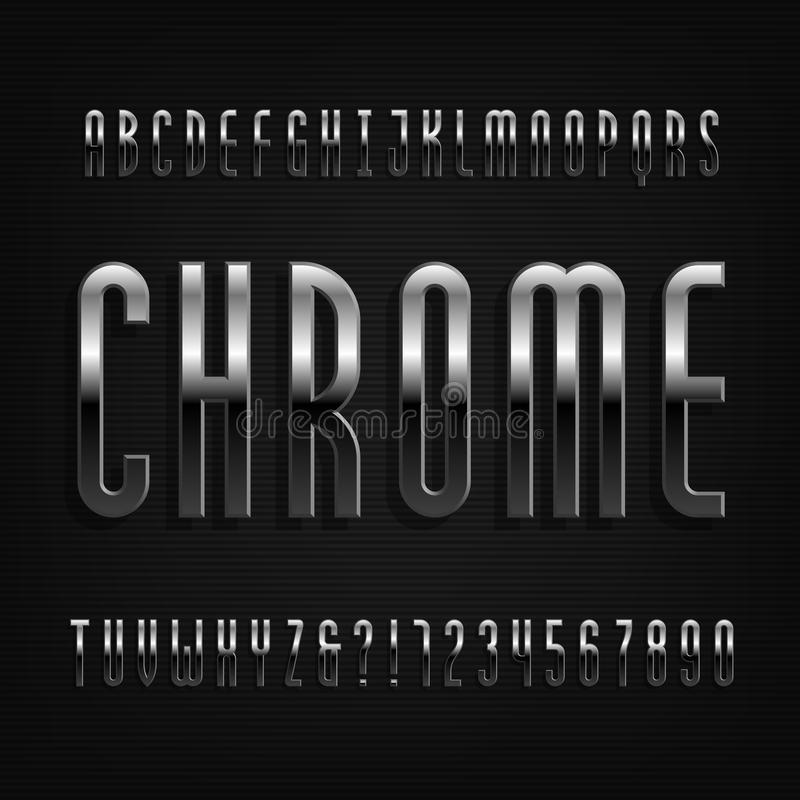 Chrome effect alphabet font. Thin metal letters, numbers and symbols. Stock vector typography for your design vector illustration