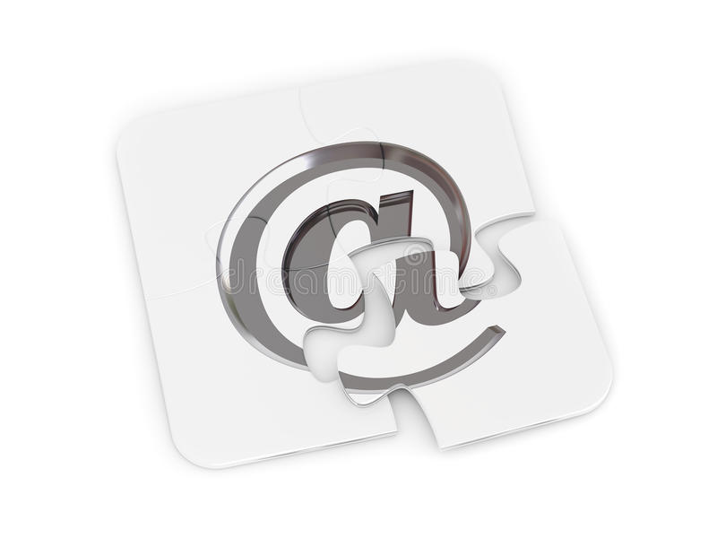 Chrome email alias puzzle royalty free illustration