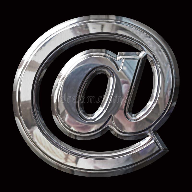 Chrome emailsymbol med dubblettskevmall- och banabanor arkivbild