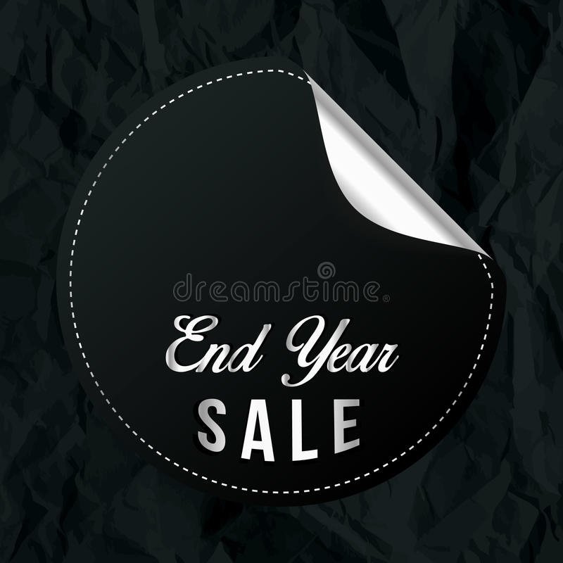 Chrome-Enden-Jahr-Verkaufs-Fahne mit Schwarzes zerknittertem Papier lizenzfreies stockbild