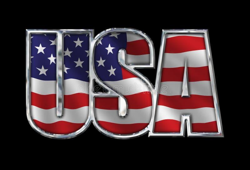 Chrome Etats-Unis avec le drapeau sur le noir images libres de droits