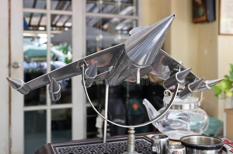 Chrome Fighter Aircraft Models in Vintage Shop. Thailand - June 16, 2016: Retro Static Military or Fighter Aircraft Models Display in A Vintage and Antique Shop stock photos
