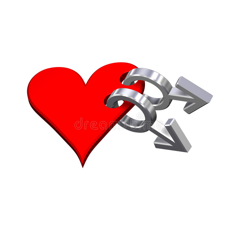 Download Chrome Gay Sex Symbol Linked With Red Heart. Royalty Free Stock Images - Image: 8529259
