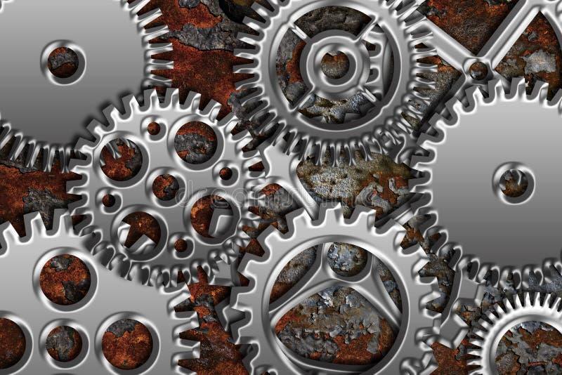 Chrome Gears on Grunge Texture Background stock illustration