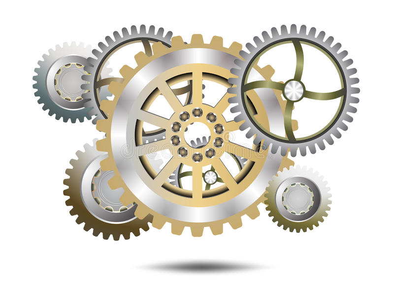 Chrome gears. On a white background royalty free illustration