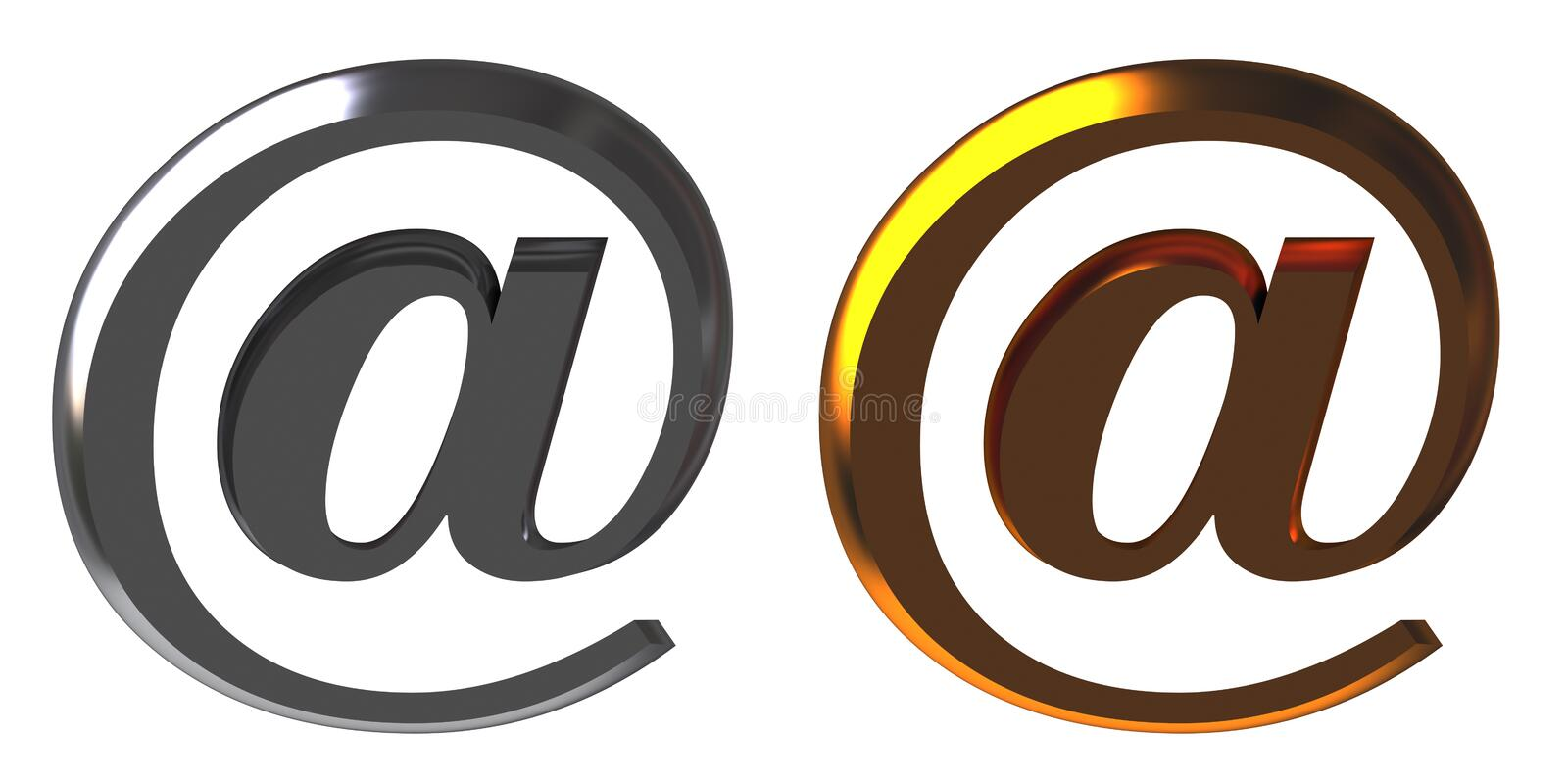 Chrome and gold email alias vector illustration
