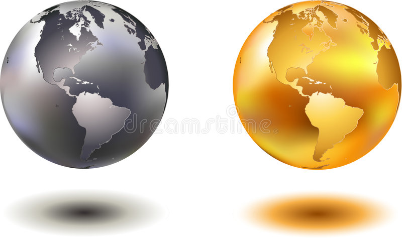 Chrome and golden world globe. Vector illustration off noble hovering chrome and golden glass world globe vector illustration