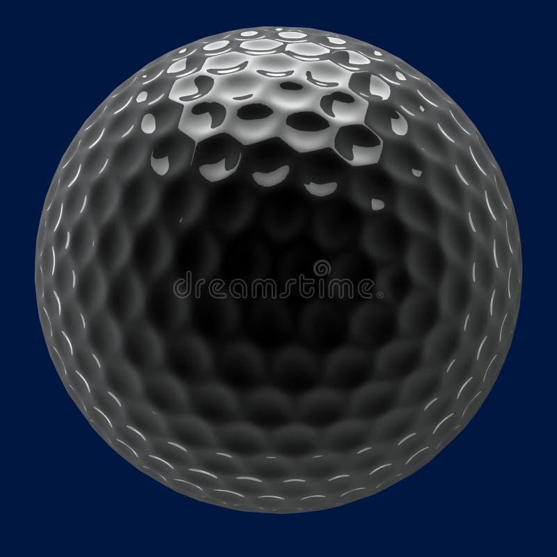 Chrome golf ball. Chrome shiny golf ball on dark background stock images