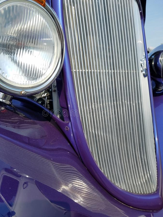Chrome grill. Radar blue with chrome makes this 1940s hotrod stand out stock photo