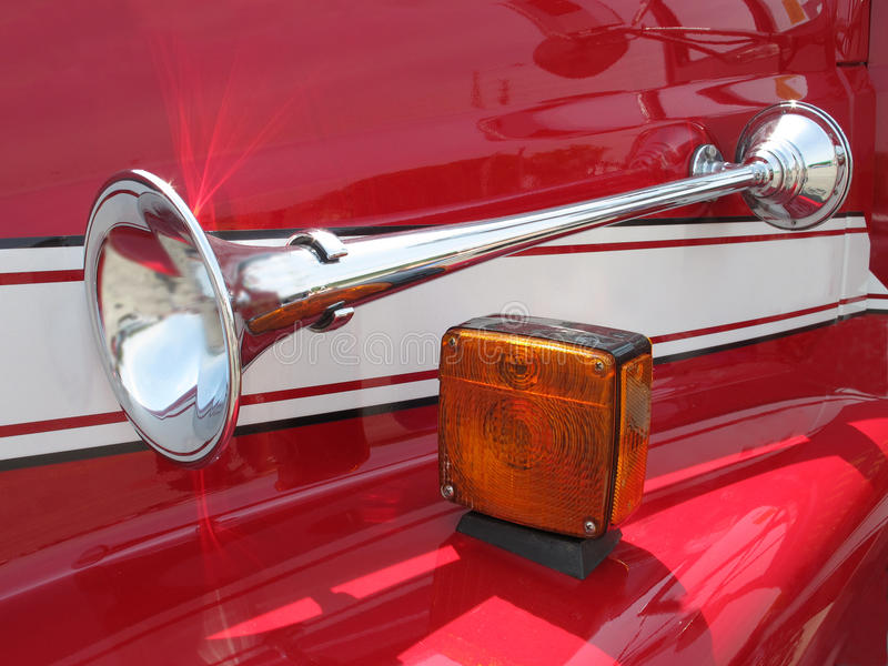 Download Chrome Horn On A Red Fender Stock Image - Image: 25439059