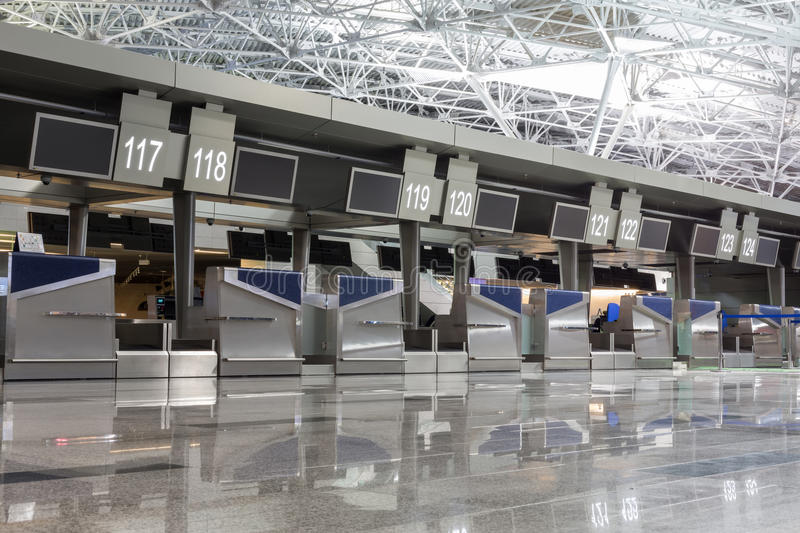Chrome interior elements in airport terminal royalty free stock photos