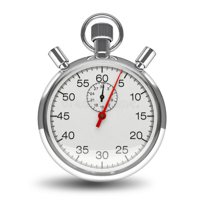 Chrome mécanique de minuterie d'horloge de chronomètre d'isolement photographie stock
