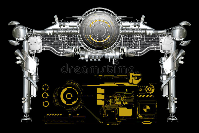 Chrome metal header with graphics. Intricate chrome header design with a set of graphics royalty free stock photo