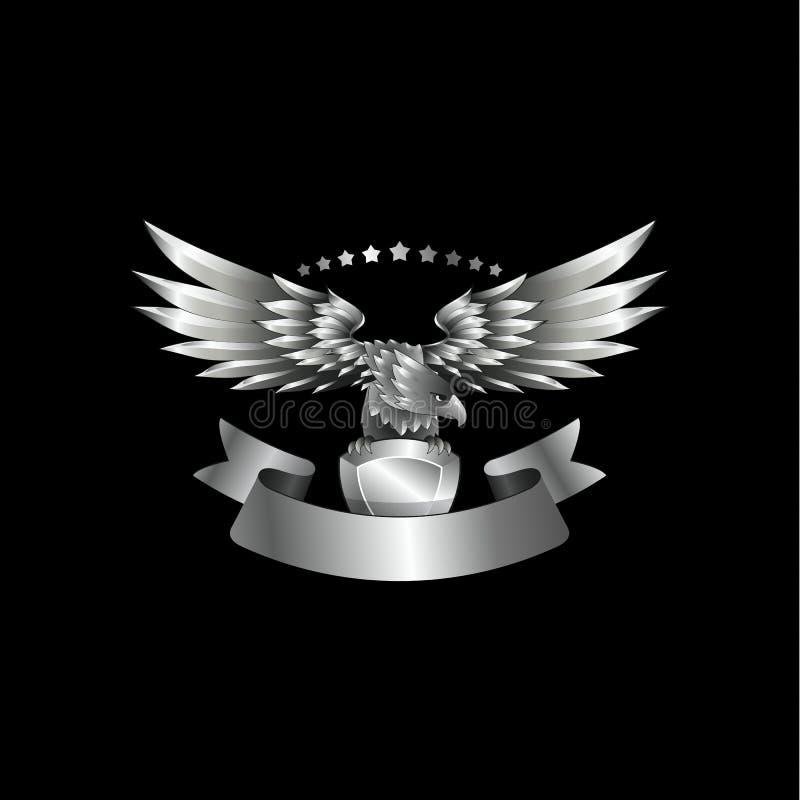 Chrome metallEagle emblem med bandet vektor illustrationer