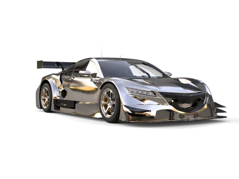 Chrome modern super race sports car - beauty shot royalty free illustration