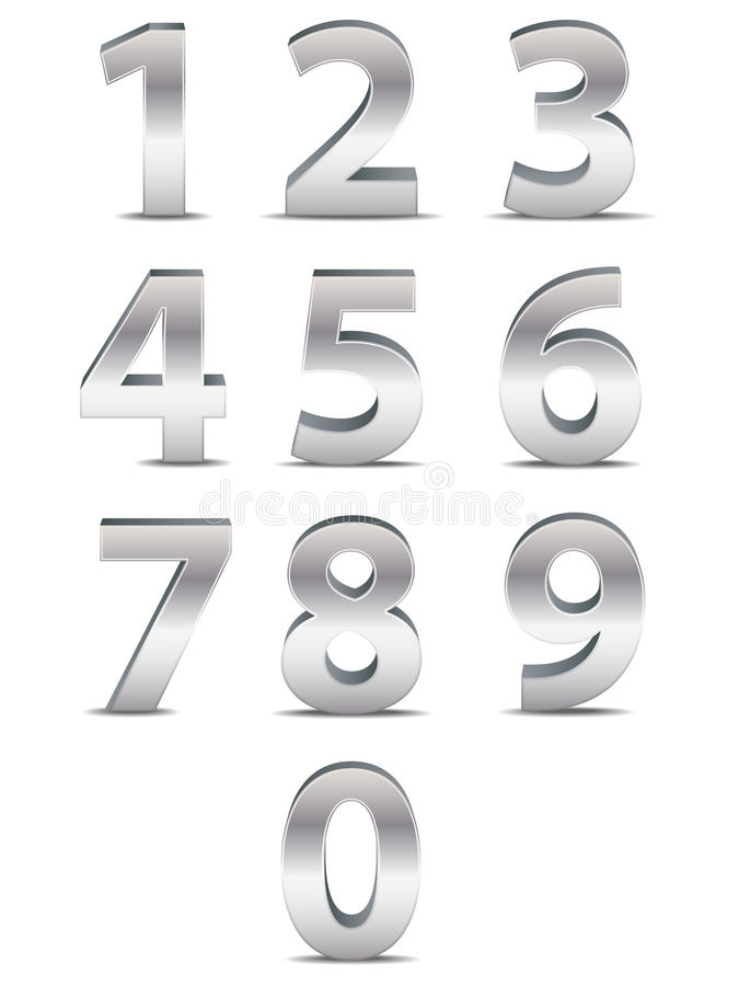 Chrome Numbers in 3D. A collection of three dimensional numbers from one back to zero