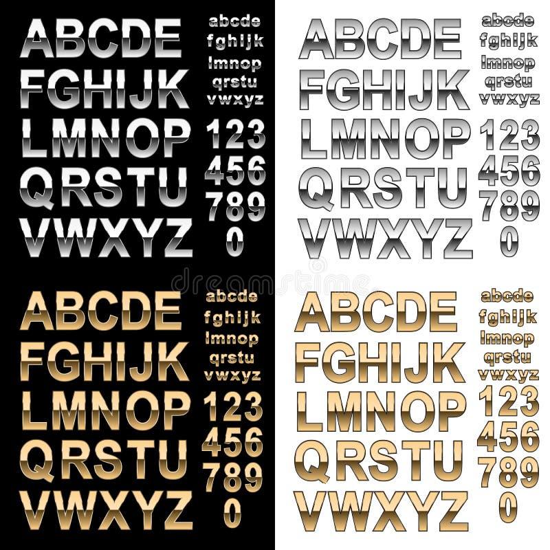 Chrome och guld- effektalfabetstilsort med bokstäver och nummer, djärv illustration för stiltextvektor vektor illustrationer