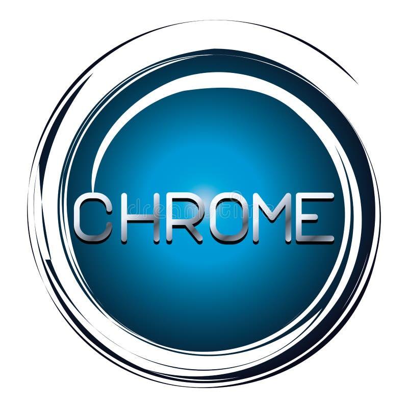 Chrome ord på den blåa knappen stock illustrationer
