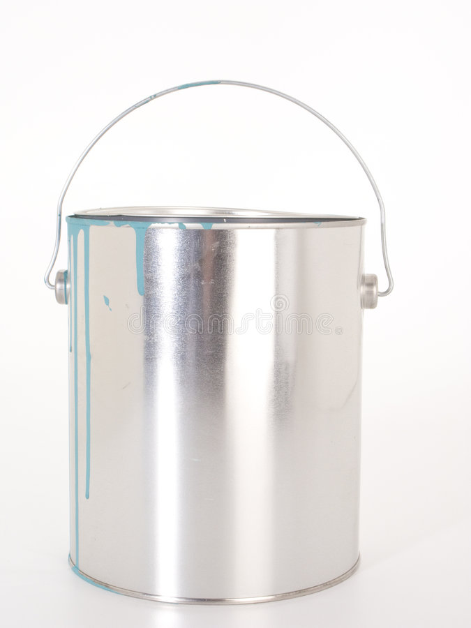 Free Chrome Paint Can With Blue Drips Stock Image - 4552831