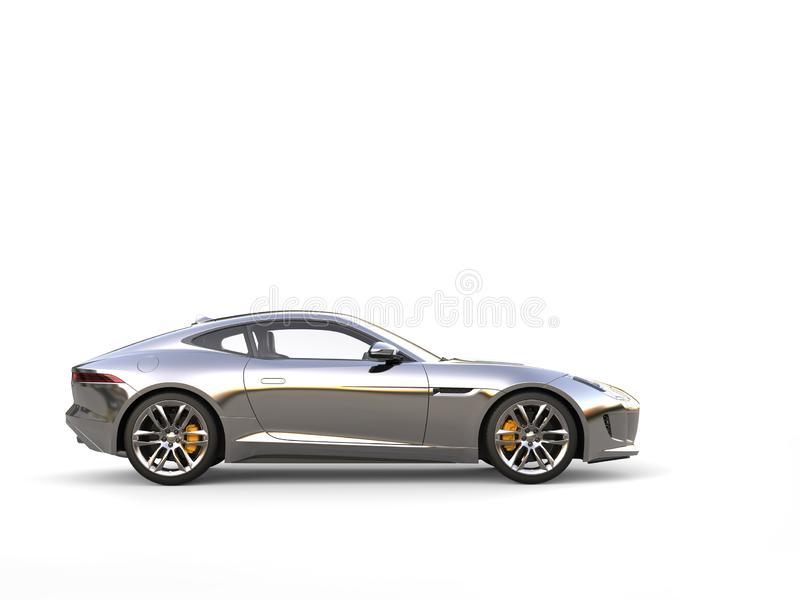 Chrome painted modern sports concept car - side view stock illustration