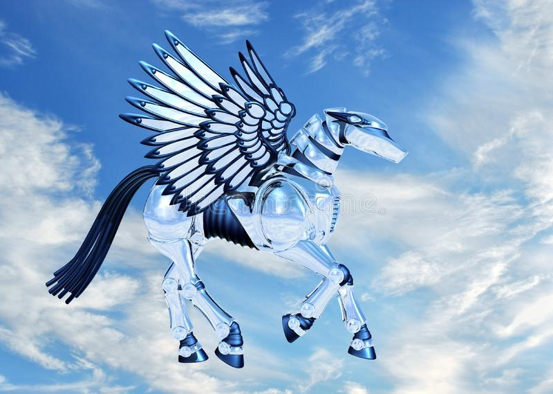 Chrome Pegasus In Sky Free Stock Image