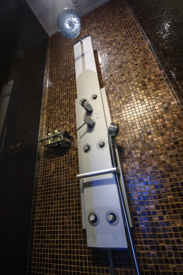 Chrome-plated Sprinkle Shower With Sprayers At The Tiled Wall ...