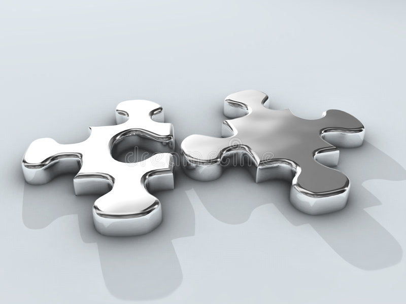 Chrome puzzle. Design on white vector illustration