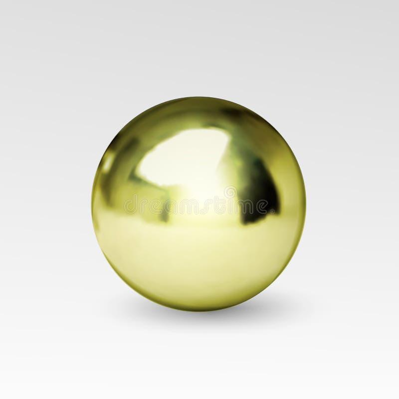 Chrome-realistische bal geïsoleerd op witte achtergrond royalty-vrije illustratie