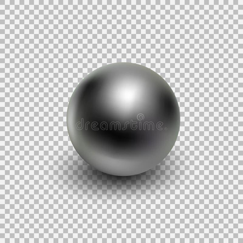 Chrome-realistische metaalbal geïsoleerd op transparante achtergrond stock illustratie