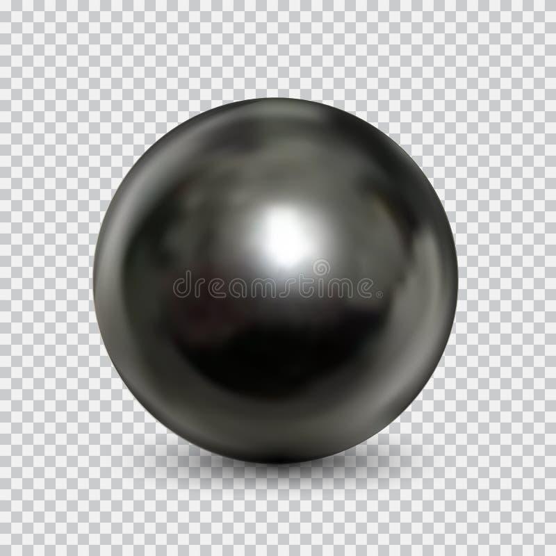 Chrome-realistische staalbal geïsoleerd op witte achtergrond vector illustratie