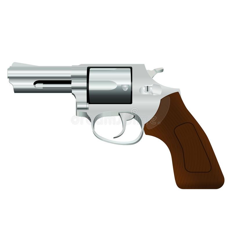 Chrome revolver. With a wooden handle on a white background royalty free illustration