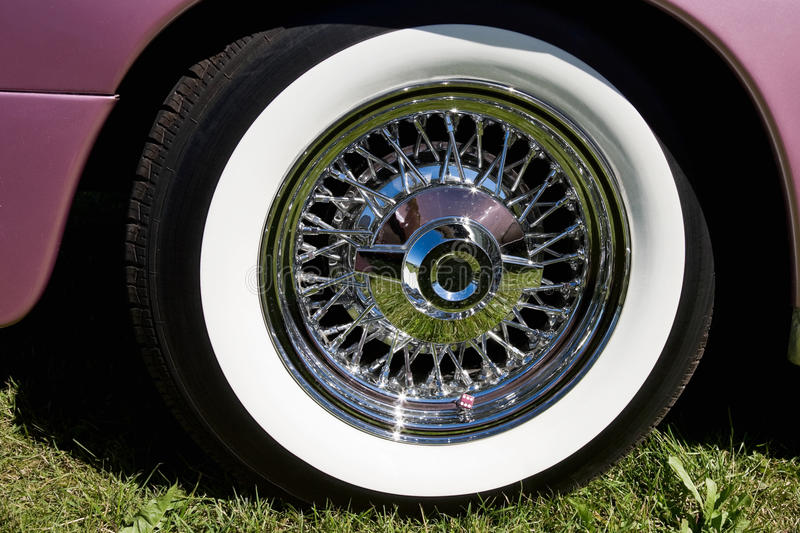 Chrome rims. With whitewall tire royalty free stock image