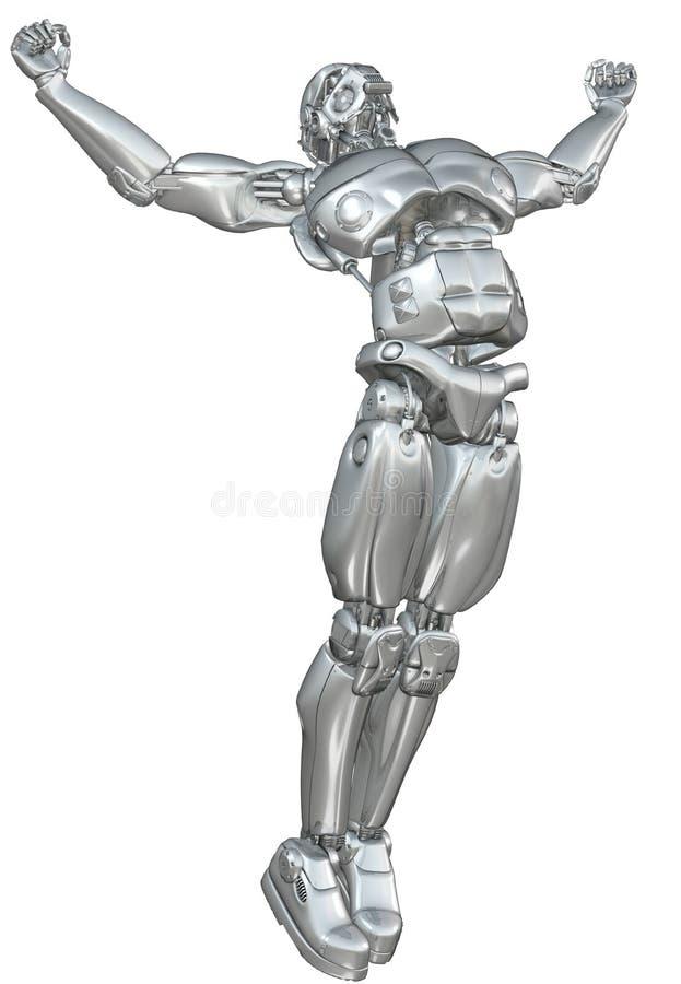 Chrome robot med fördjupade armar royaltyfri illustrationer