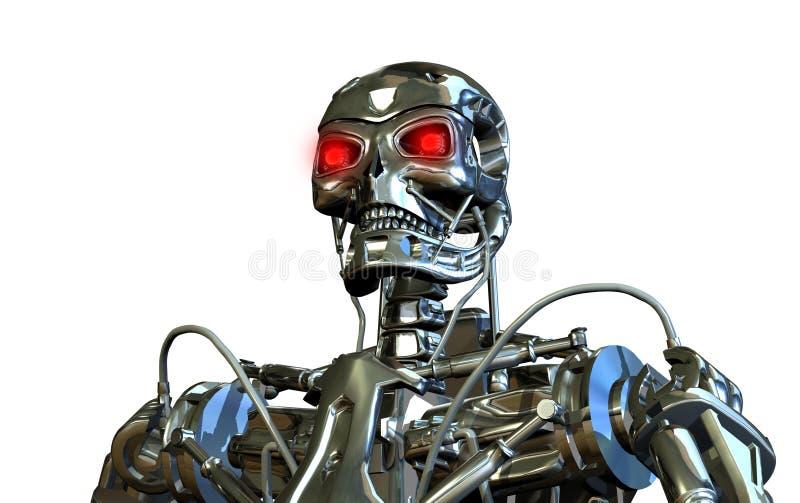 Chrome Robot Portrait vector illustration