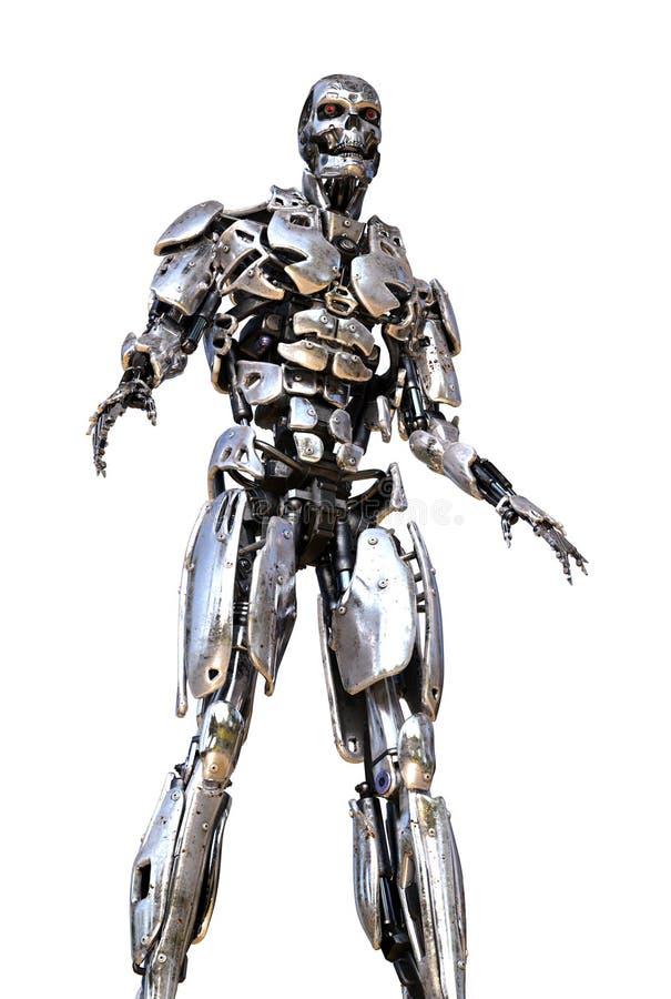Chrome-Roboter-Türme obenliegend stock abbildung