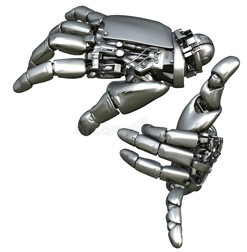 Chrome robotic hands stock illustration