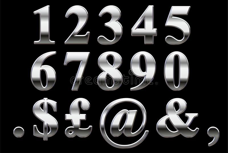 Chrome Serif Numbers royalty free stock photography
