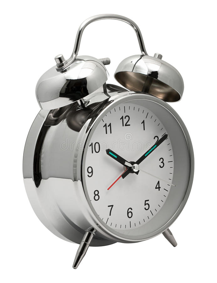 Chrome shiny Alarm Clock. Classic silver chrome Clock with Alarm bells on top to get you out of bed stock images