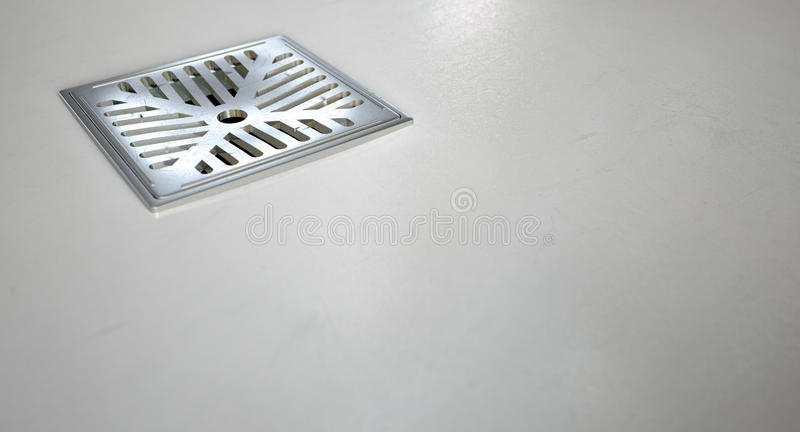 Chrome Shower Floor Drain Closeup stock photo