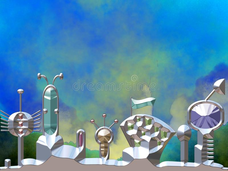 Space city with space in background stock illustration