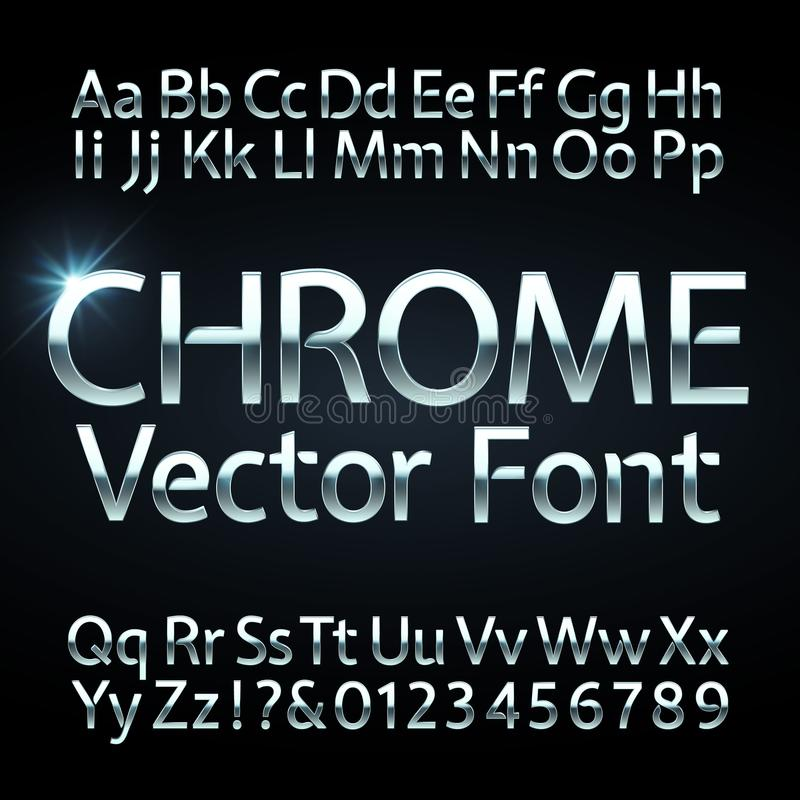 Chrome, steel or silver letters and numbers vector alphabet. Metallic typeface, font royalty free illustration