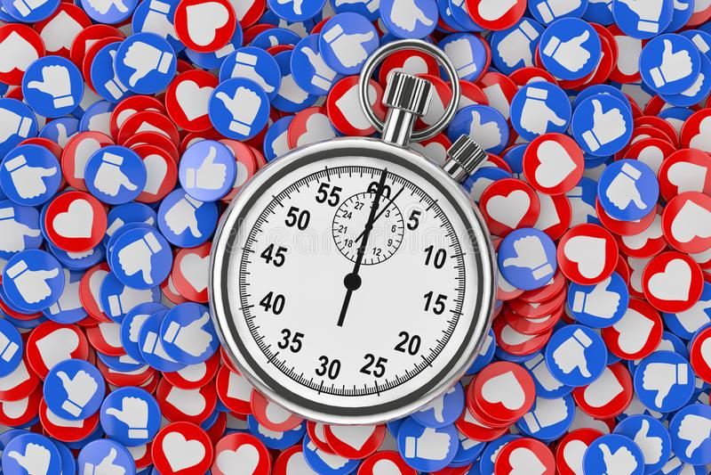 Chrome-Stoppuhr über Haufen der Social Media-Netz-Liebe und wie Herz-Ausweisen prägt Hintergrund-Beschaffenheit Wiedergabe 3d stock abbildung