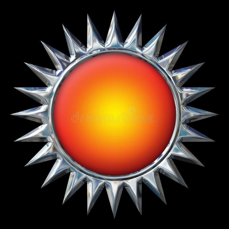 Chrome Sun avec le centre orange sur le noir images stock