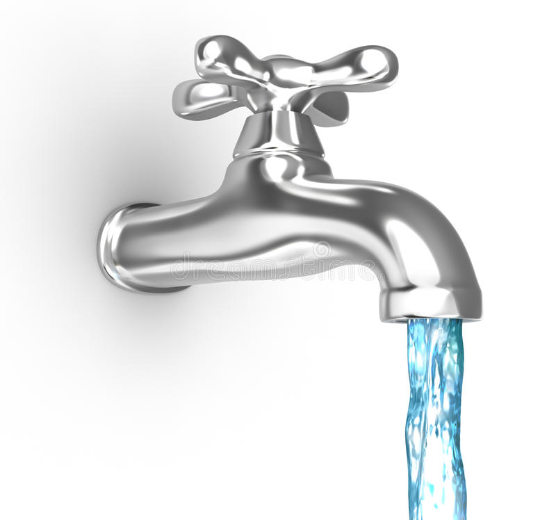 Chrome tap with a water stream. On white vector illustration