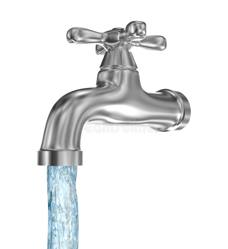 Chrome tap with a water stream. Isolated on white stock illustration
