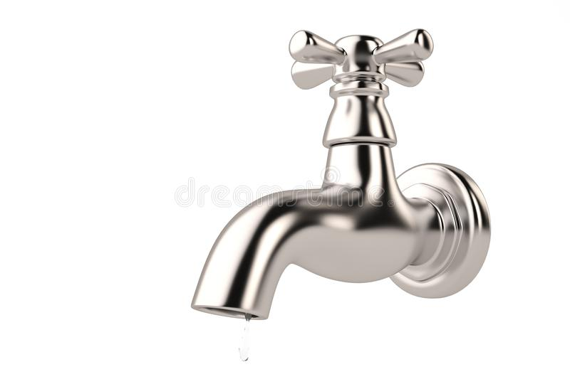 Chrome tap with a water stream isolated on white 3d illustration.  royalty free illustration
