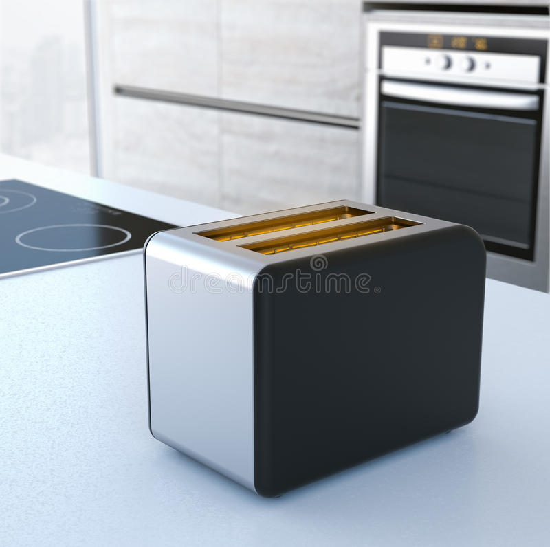 Chrome toaster on the table. 3d rendering stock photography
