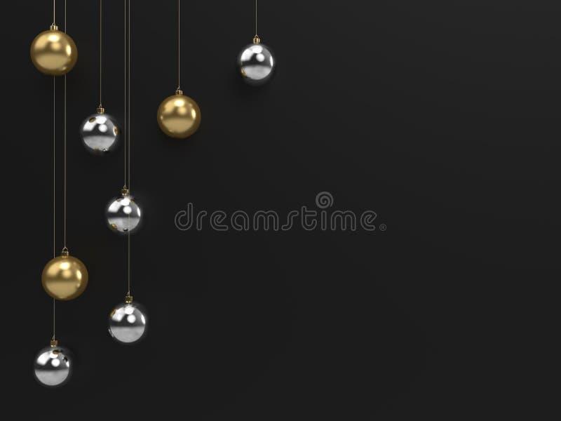 Chrome- und Goldweihnachtsdekorations-Bälle lizenzfreie abbildung